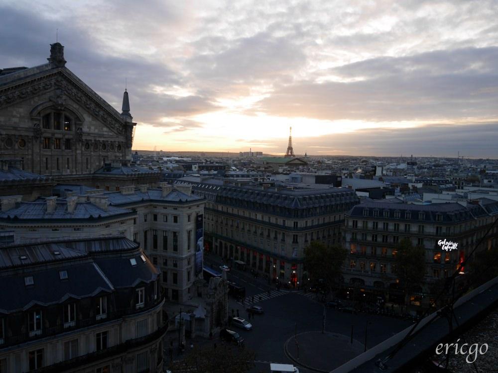 巴黎|巴黎老佛爺百貨 Galeries Lafayette 免費觀景台推薦 – 擁抱巴黎鐵塔及巴黎歌劇院、巴黎夕陽下的風情萬種