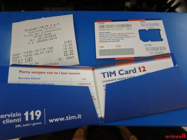 [義大利] TIM電信SIM卡 – 羅馬Termini即可申請,20歐元上網打電話好方便